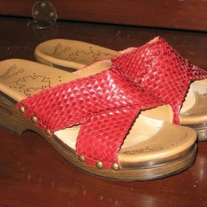 Dansko Red Mila Woven Leather Sandals Size 38